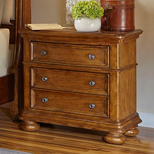 Decorative Drawer Stand (Samuel Lawrence 8674-050 Paxton 3 Drawer Nightstand with Decorative Hardware Bun Feet Open Shelf and Molding Detailing in Medium)