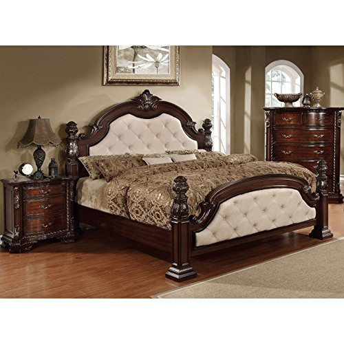 California Bed Set King Poster (Furniture of America Kassania Luxury Leatherette Four Poster Bed Ivory California King)