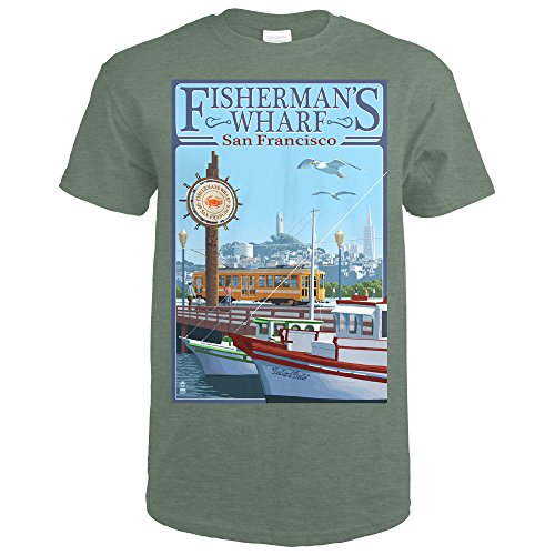 San Francisco, California - Fisherman's Wharf (Heather Military Green T-Shirt - Bay Square Green Park Bay