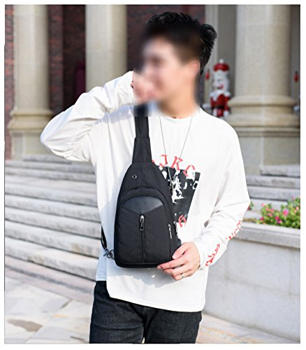 Black Charging Cloth Usb Mingmo For Backpack Sling Chest With Bag Oxford Women Packs Port Crossbody Triangle Shoulder Men qR1T4BRxw