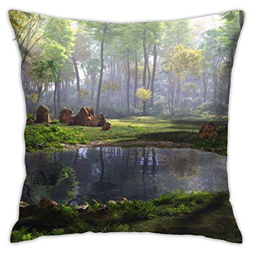 (Eratdatd Customized 3D Rendering of A Fantasy Forest Landscape 45 X 45 cm Pillow Cover, Sofa Bed Pillow Durable, Machine Wash Pillow Cover)