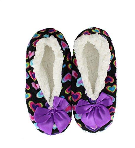 Co-Zees Ladies Sherpa Heart Bow Slipper Fleece Travel Pumps - coz-hea-pum Purple Heart HwRYUfzN