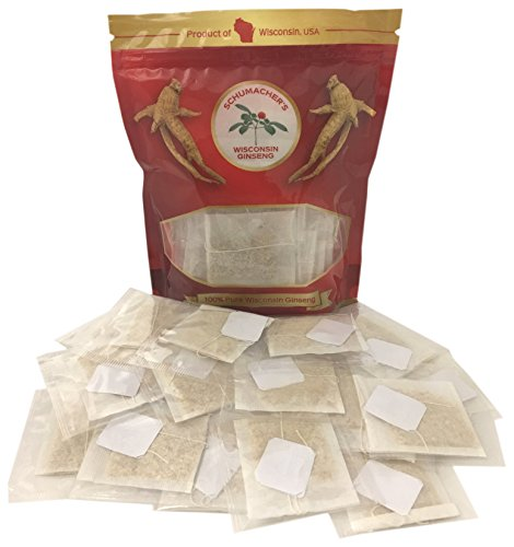 - American Ginseng Tea-20 Bags, 100% Pure Wisconsin Ginseng roots - BEST Herbal Tea made from Wisconsin Ginseng roots. Tea helps with Anxiety, Stress, Energy, Fatigue, Health. Tea by Schumacher Ginseng