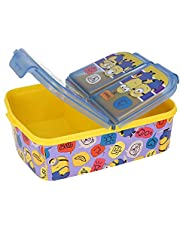 Minions Lunchbox voor kinderen, met 3 vakken, lunchbox voor kinderen, ideaal voor school, kleuterschool of vrije tijd