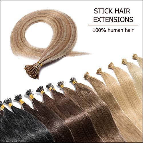 100 Strands I Tip Hair Extensions Human Hair Highlighted Golden Brown mixed Bleach Blonde 18 Inch Soft Straight Remy Hair Pre Bonded Stick Shoelace Tips-18