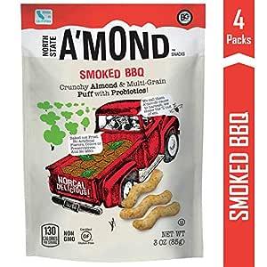 A'mond Smoked BBQ Snack Puffs, Crunchy Almond & Multi-Grain Super Food Snack Puff, Plant-Based, Gluten-Free, Non-GMO, 4 Pack, 3 oz Each