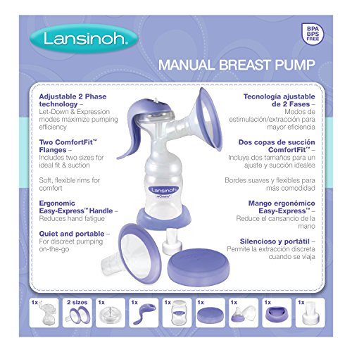 Lansinoh-Manual-Breast-Pump-with-Ergonomic-Handle-Stimulation-and-Expression-Modes-Portable-Breast-Pump-includes-2-Flange-Sizes-Compatible-with-all-Lansinoh-Baby-Bottles-Breastmilk-Storage-Bags