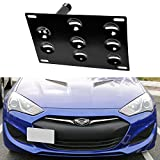 iJDMTOY Front Bumper Tow Hole Adapter License Plate Mounting Bracket Holder For Hyundai Genesis Coupe