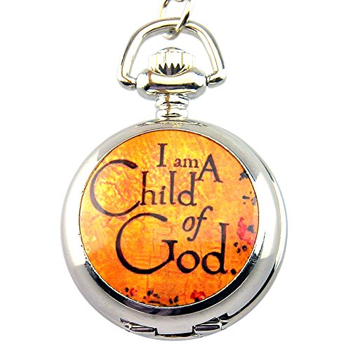 Engraved I am A Child of God Silver Pendant Quartz Pocket Watch with Necklace Chain with Gift Box