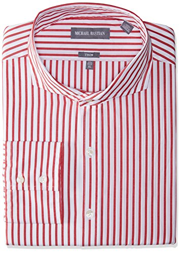 Michael Bastian Men's Slim Fit Spread Collar Dress Shirt, Bengal Stripe/Red/White, 16.5