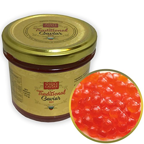 Trout Caviar Roe - Best Caviar for Sushi - RUSSIAN Style Traditional Caviar, 3.88 Oz - 110 gr - Glass Jar (Red Salmon Caviar)