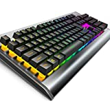 OJA Backlit LED Wired Gaming Keyboard, Mechanical Feeling Keyboard with Water-Resistant Adjustable Backlight USB Wired Metal Computer Keyboard for PC Games Office (Sliver)