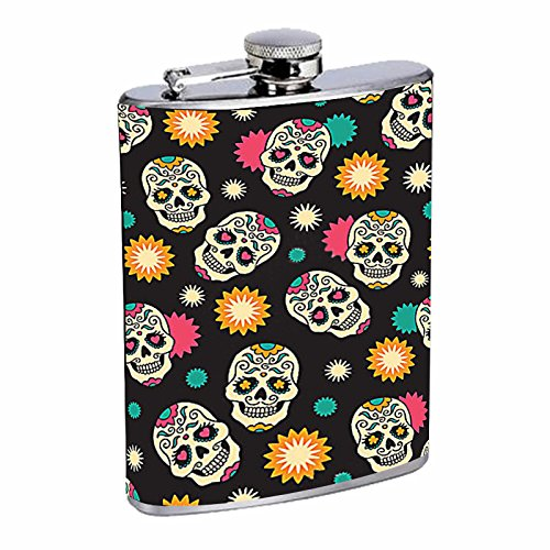(8oz Liquor Flask with pattern sugar skull Stainless Steel Drinking Flask with Personality Designer Flask Gift for Women and)