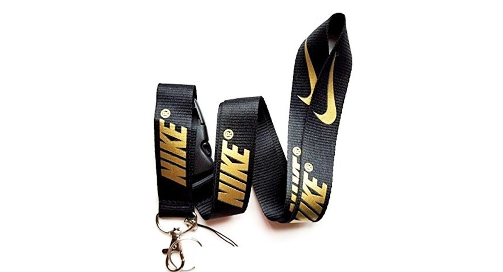 Sport Speciality Black Basketball Lanyard with Gold Logo Keychain Holder