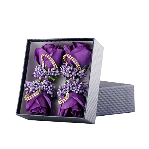 (YSUCAU Rose Boutonniere Handmade Corsage Classic Artificial Groom Flowers Brooch with Pin for Wedding Prom Party (Dark Purple) )