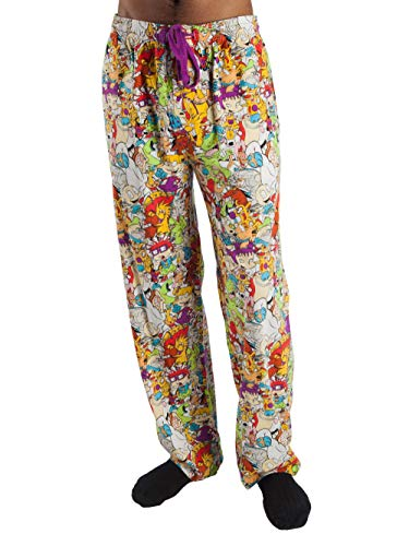 Top Drawer Nickelodeon Character Graphic Mens Sleep Lounge Pants With Catdog, Hey Arnold, Ren & Stimpy, Rockos Modern Life, Rugrats, Spongebob Characters (Large (36-38))
