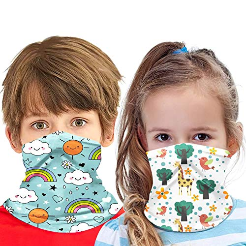 DOMEI 2Pcs Bandana Neck Gaiters for Kids, Breathable Kids Scarf Mask, Cooling Face Scarf for Kids