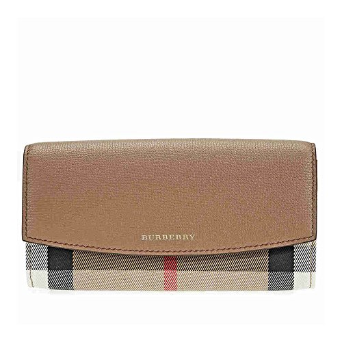 Burberry Women's House Check and Leather Continental Wallet Dark Sand