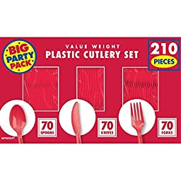 Amscan Sturdy Big Party Pack Window Box Value Party Supply Cutlery Set, 6.6\