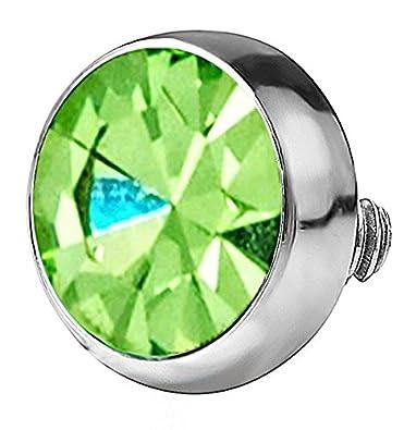 c59f3ca95 1 x Green Swarovski Crystal 4mm Dermal Anchor Top: Amazon.co.uk: Jewellery