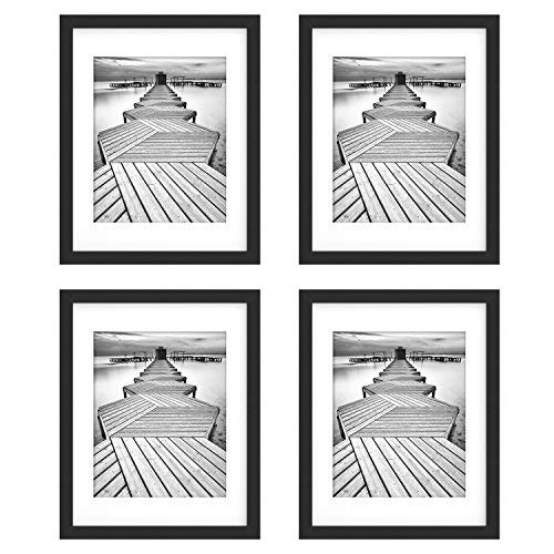 UnityStar 11x14 Picture Frames, Matted to 8x10 Frame, Solid Wood and Tempered Glass, Wall Mounting Photo Frame for Wedding Party Family, 4-Pack, Black