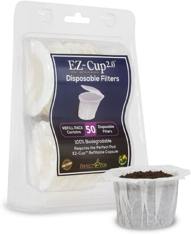 Perfect Pod EZ-Cup Paper Coffee Filters with Patented Lid for Single-Serve Coffee Brewers and K-Cups, Compatible with Keurig, 12-Pack (600 Filters) 51njy0zS4VL