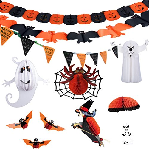 Parachute Spider - Halloween Decorations Bundle of 11 Items - Streamers and Hanging Pumpkins, Spiders, Bats, Witch, Ghosts