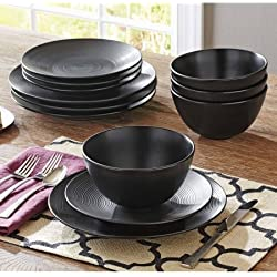 12-Piece Matte Swirl Dinnerware Set, Black