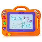 Magnetic Drawing Board for Kids & Toddlers with 3 Stamps, perfect size for travel, Erasable Colorful Magna Doodle Sketch Board & Pen, Preschool Learning and Educational Toy (orange)