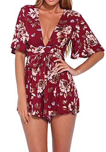 Lanzom Women's Red Boho V Neck Floral Print Romper Jumpsuit With Belt (Large)