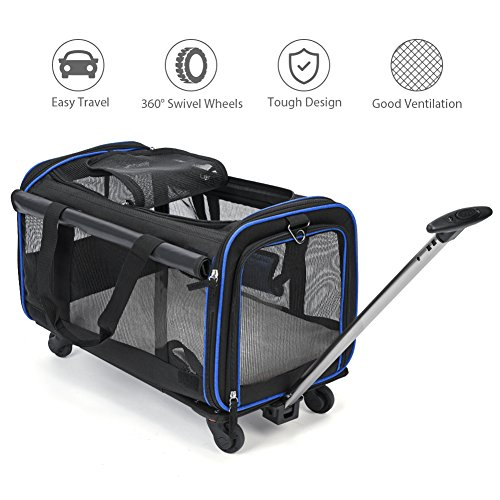 "YOUTHINK Pet Wheels Carrier, Removable Wheeled Travel Carrier for Pets up to 30 lbs, with Extendable Handle & Fleece Bed, 20"" x 12""x 12"", Black"