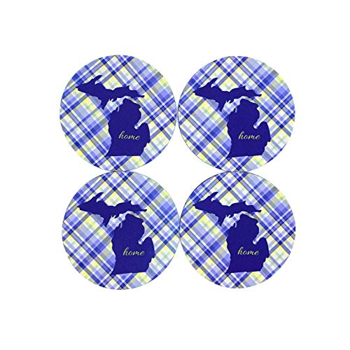 (Michigan Blue Gold Plaid Silhouette Home Coasters (Set of 4))