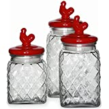 Circleware Red Pullet 3 Piece Preserving Glass Canister Food Jar Set with Ceramic Rooster Lid Handle, 81 oz, 108 oz, 130 oz.