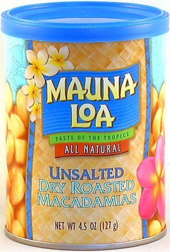 Mauna Loa Unsalted Dry Roasted Macadamias, 4.5-Ounce Can (Pack of 12) by Mauna Loa