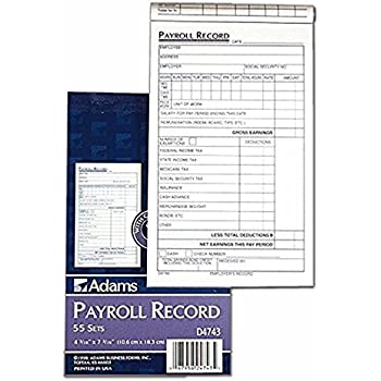 amazon com adams employee payroll record book 2 part carbonless