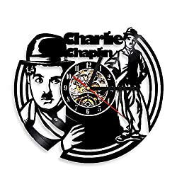 1Piece Vinyl Cock Charlie Chaplin Modern Times Vintage Wall Clock Vinyl Record Wall Decor Gift For Classic Movie Lover