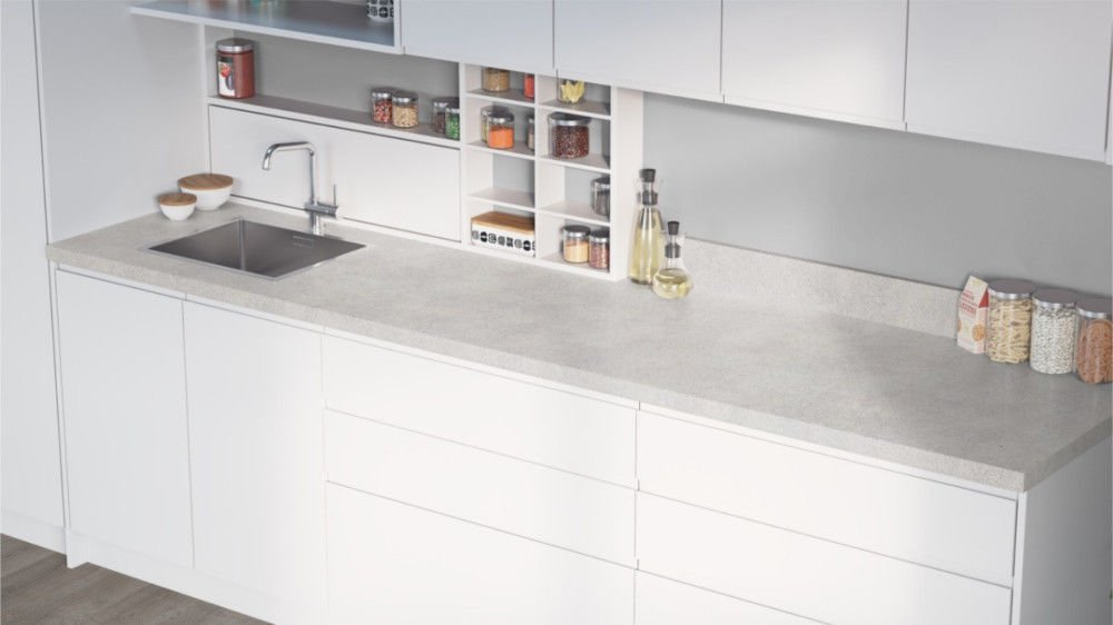 Egger Cosmic White Effect Square Edge Laminate Kitchen Worktops - 40mm Offcut Bathroom Work Surface 38mm Breakfast Bar - 1m x 650mm x 38mm Worktop