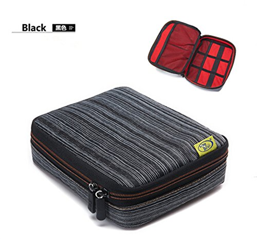 Linsam Cable Organizer Electronics Accessories Case Various USB /Phone / Charge / Cable Organizer Pouch Bag Black