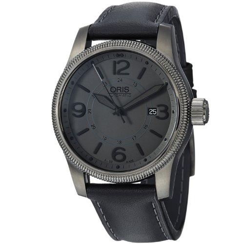 Oris Men's 73376294263LS Big Crown Black Leather Strap Watch