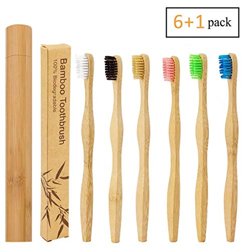 6 Colors Natural Bamboo Toothbrush + a Bamboo Toothbrush Case for Travel, Biodegradable Eco-Friendly Toothbrush with BPA Free Nylon Bristles for Adult by Homtable