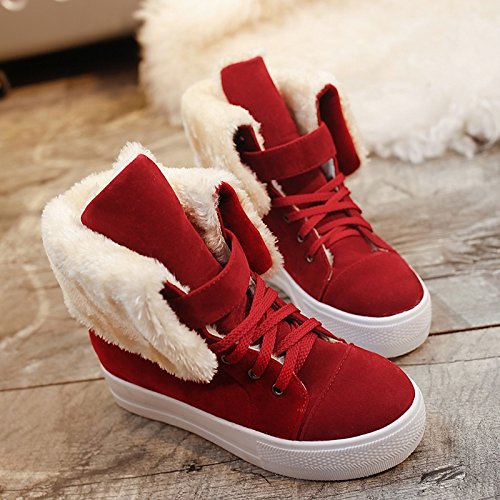 Winter Spring Casual Ankle Women's HSXZ Flat Draped Booties Boots Side Snow Leatherette Red Round Toe Shoes ZHZNVX for Boots Heel Black Boots Beige Black xwXI65H6
