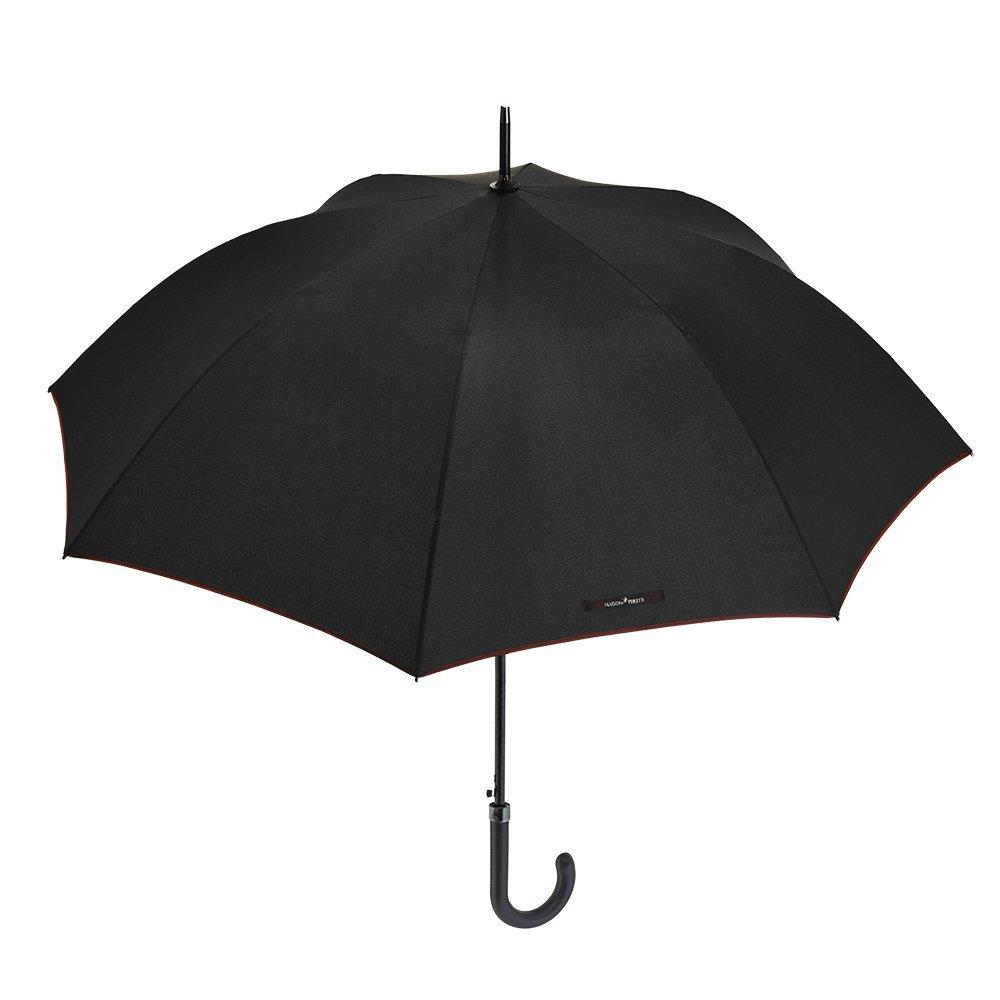 Ombrello Uomo Classico Maison Perletti - Apertura Automatica - Eleganti finiture con Manico Curvo in Eco Pelle e cuciture - di Alta Qualità - in tinta Unita Nero e bordo Rosso 16242A