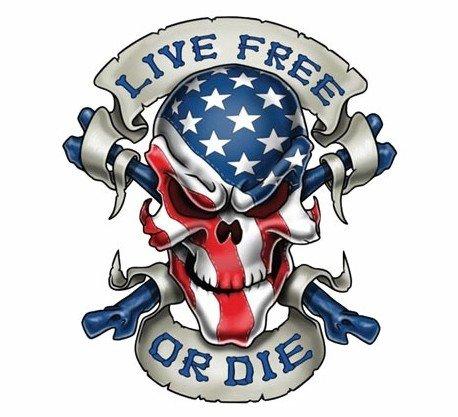 3'' LIVE FREE Skull Decal Graphic for Honda Kawasaki Suzuki Yamaha Harley