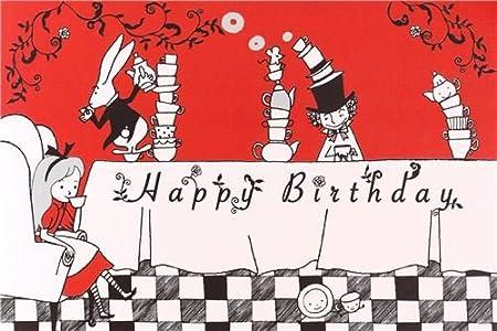 Tarjeta cumpleaños postal roja y blanca cuento Alicia País ...