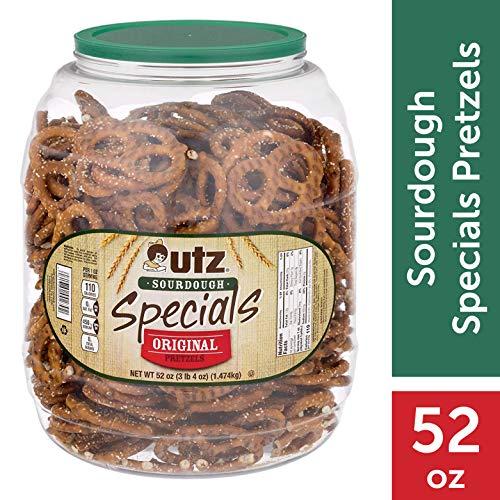 Utz Sourdough Specials Pretzels - Classic Sourdough Pretzel Knot Twist, Perfectly Salted Crunchy Sourdough Pretzel with Zero Cholesterol per Serving, 52 oz. Barrel