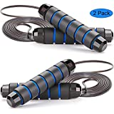Ytnqd Jump Rope ,Angle-Free Ball Bearing Fast Rope Skipping Adjustable Memory Foam Anti Skid Handle Skipping Rope New Fitness Speed Rope for Men and Women Suitable for Aerobic Exercise -2 Pack (Color: 2 Pack Black Blue)