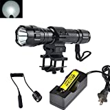 BESTSUN Super Bright Tactical Flashlight WF-501B Cree Xm-L2 LED 1200 Lumens 1 Mode Hunting Light Lamp Torch Set with Pressure Tail Switch, Barrel Mount for AR, 18650 Rechargeable Battery and Charger