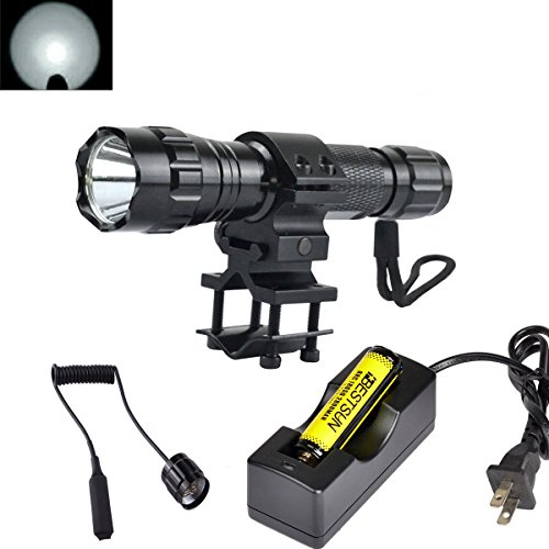 BESTSUN Super Bright Tactical Flashlight WF-501B Cree Xm-L2 LED 1200 Lumens 1 Mode Hunting Light Lamp Torch Set with Pressure Tail Switch, Barrel Mount for AR, 18650 Rechargeable Battery and Charger ()