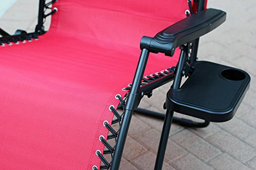 Jeco Set Of 2 Oversized Zero Gravity Chairs With Sunshade Red