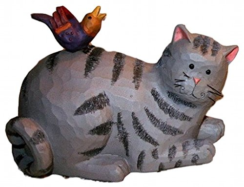 Blossom Bucket Happy Grey Tabby Cat & Red Bird 6